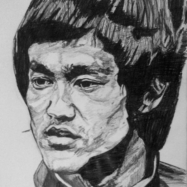 Black Drawing - Bruce Lee by Rachel Natalie Rawlins