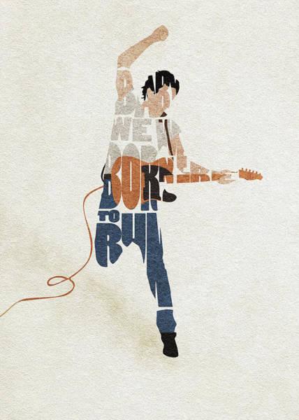 Lyrical Digital Art - Bruce Springsteen Typography Art by Inspirowl Design