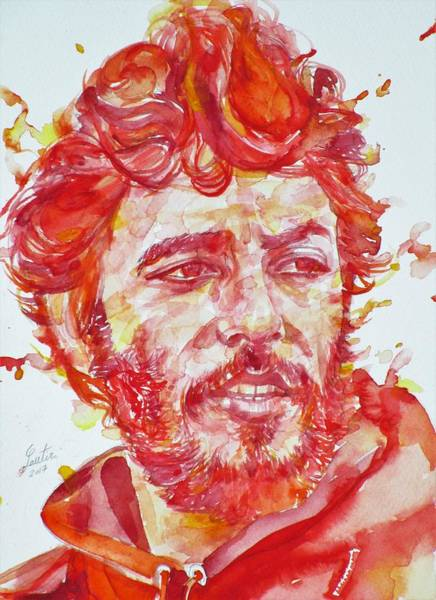 Wall Art - Painting - Bruce Springsteen - Watercolor Portrait.13 by Fabrizio Cassetta