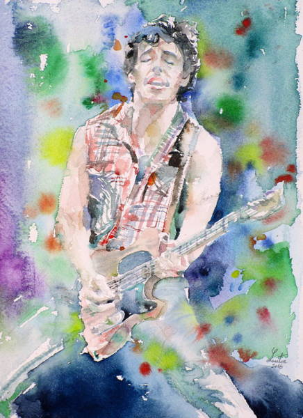 Wall Art - Painting - Bruce Springsteen - Watercolor Portrait.4 by Fabrizio Cassetta