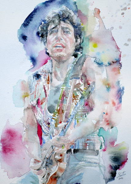 Wall Art - Painting - Bruce Springsteen - Watercolor Portrait.5 by Fabrizio Cassetta