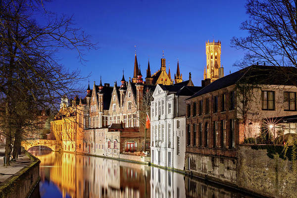 Photograph - Bruges Canal At Night by Barry O Carroll