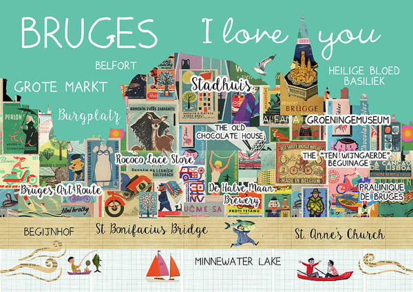 Belgium Mixed Media - Bruges I Love You by Claudia Schoen
