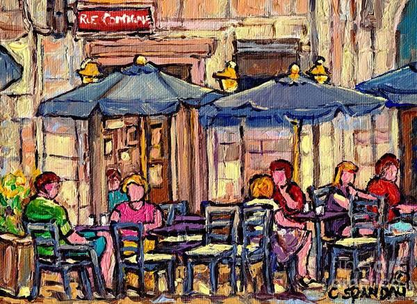 Painting - Brunch On The Terrace Old Montreal Rue De La Commune Paris Style Cafe Bistro Art Carole Spandau      by Carole Spandau