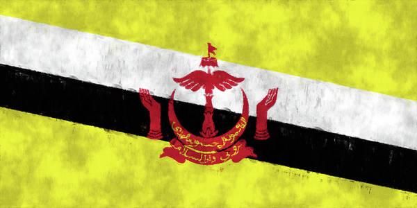 Wall Art - Digital Art - Brunei Flag. Painted Flag Design Of Brunei Flag. by World Art Prints And Designs