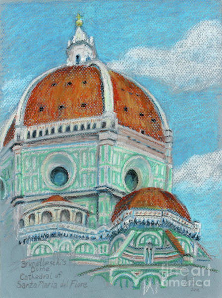 Wall Art - Pastel - Brunelleschi Dome In Oil Pastel By Adam Long by Adam Long