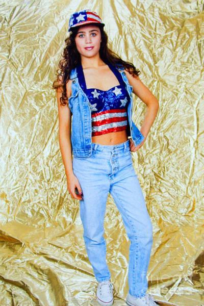 Photograph - Brunette Model In American Flag Bustier by Steve Krull