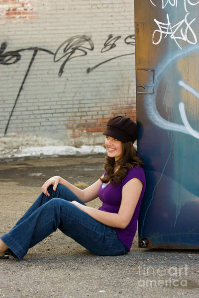 Photograph - Brunette Teen Downtown by Steve Krull