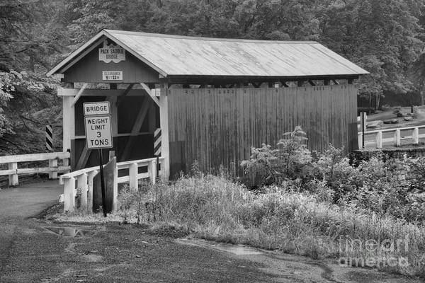 Somerset County Photograph - Brush Creek Covered Bridge Black And White by Adam Jewell