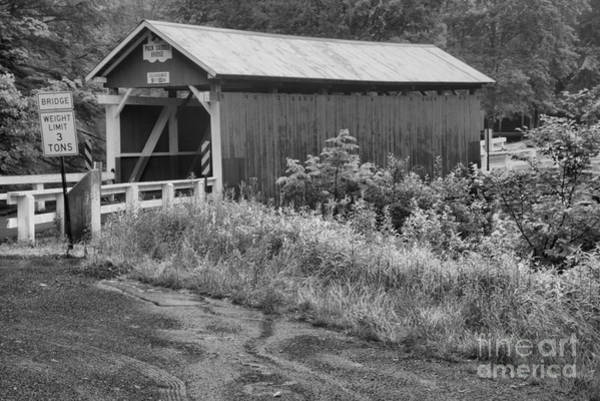 Somerset County Photograph - Brush Creek Packsaddle Covered Bridge Black And White by Adam Jewell