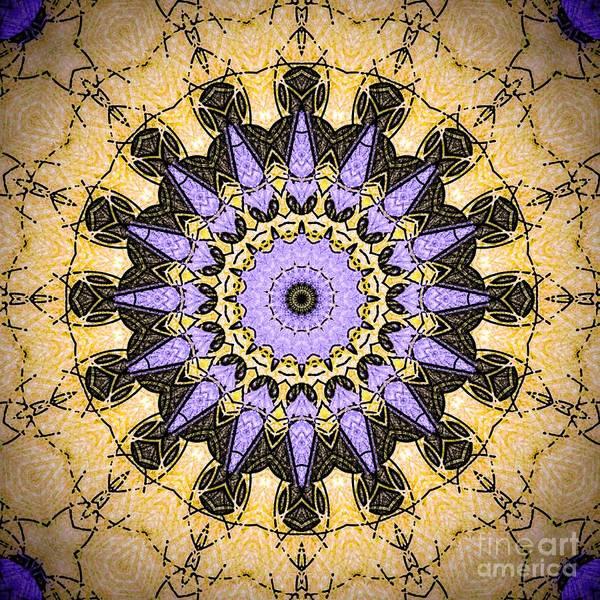 Digital Art - Brushed Gold Purple Mandala  by Sheila Wenzel