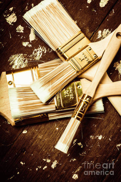 Repair Photograph - Brushes Of Interior Decoration by Jorgo Photography - Wall Art Gallery