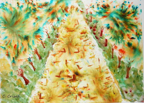 Painting - Brusho Path by Carol Crisafi