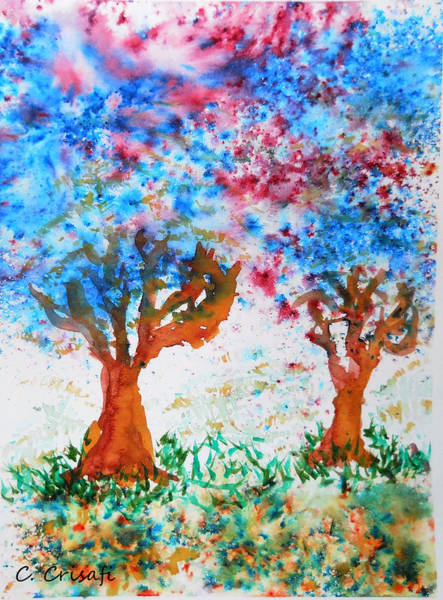 Painting - Brusho Trees by Carol Crisafi