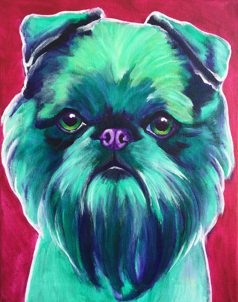Wall Art - Painting - Brussels Griffon - Bottle Green by Alicia VanNoy Call