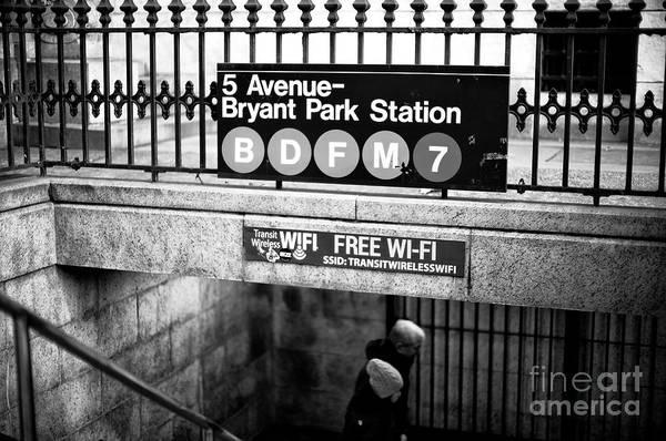 Photograph - Bryant Park Station by John Rizzuto