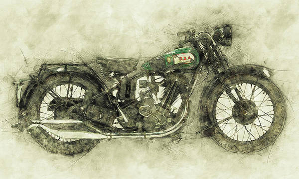 Wall Art - Mixed Media - Bsa Sloper 1 - 1927 - Vintage Motorcycle Poster - Automotive Art by Studio Grafiikka