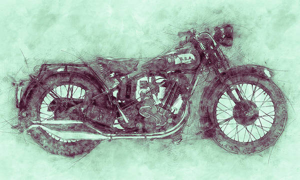 Wall Art - Mixed Media - Bsa Sloper 3 - 1927 - Vintage Motorcycle Poster - Automotive Art by Studio Grafiikka
