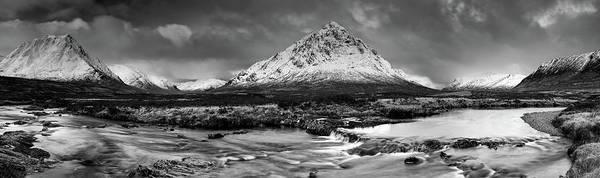 Photograph - Buachaille Winter Panorama Mono by Grant Glendinning
