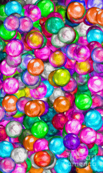 Digital Art - Bubble Gum Balls Painterly 1 by Andee Design