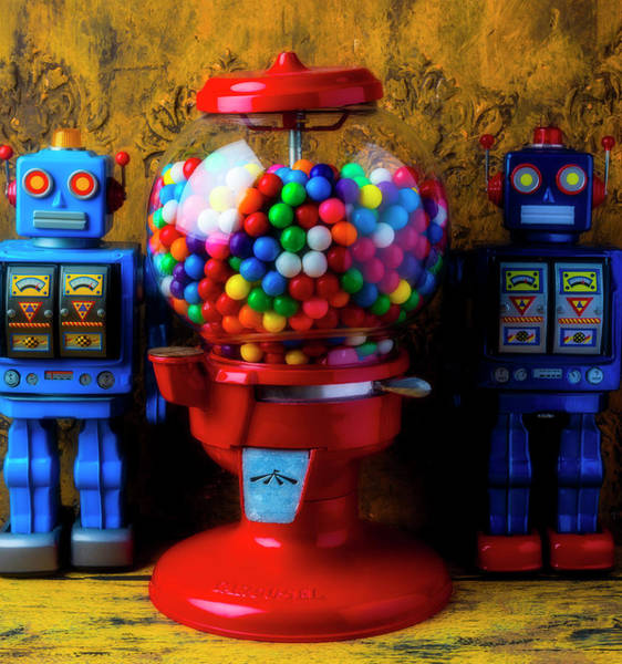 Wall Art - Photograph - Bubblegum Machine And Two Robots by Garry Gay