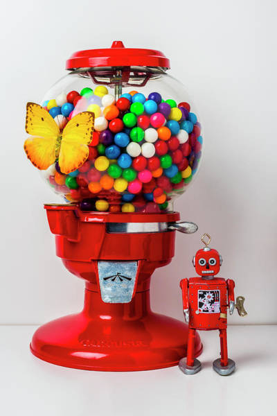 Wall Art - Photograph - Bubblegum Machine With Butterfly And Robot by Garry Gay