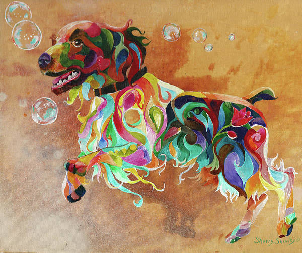 Painting - Bubbles  English Springer by Sherry Shipley