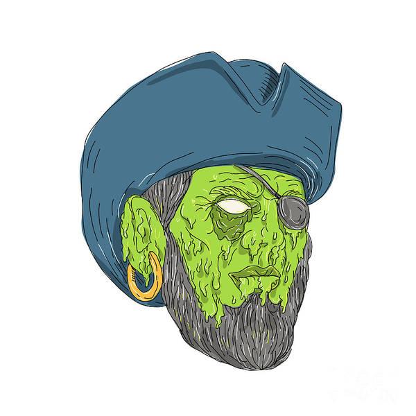 Grotesque Digital Art - Buccaneer Pirate Grime Art by Aloysius Patrimonio