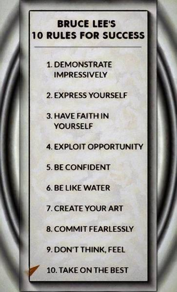 Buce Lee 10 Rules Of Success Art Print