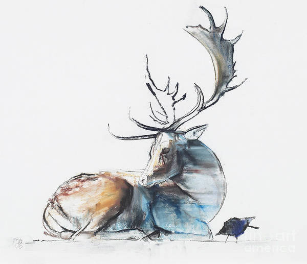 Wall Art - Painting - Buck And Bird by Mark Adlington