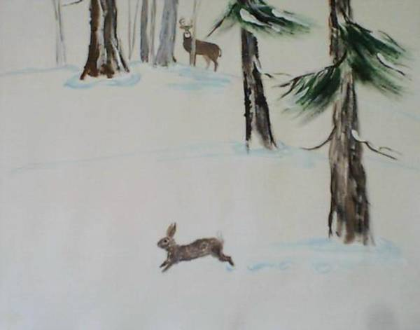 Rabit Painting - Buck And Rabit In The Snow by B L Qualls