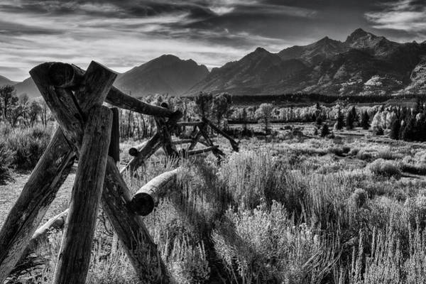 Grass Snake Photograph - Buck And Rail To The Tetons by Mark Kiver
