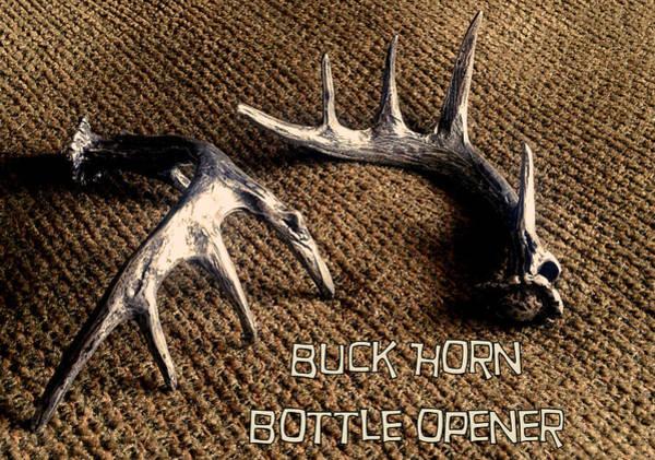 Sculpture - Buck Horn Bottle Opener by Tim  Joyner