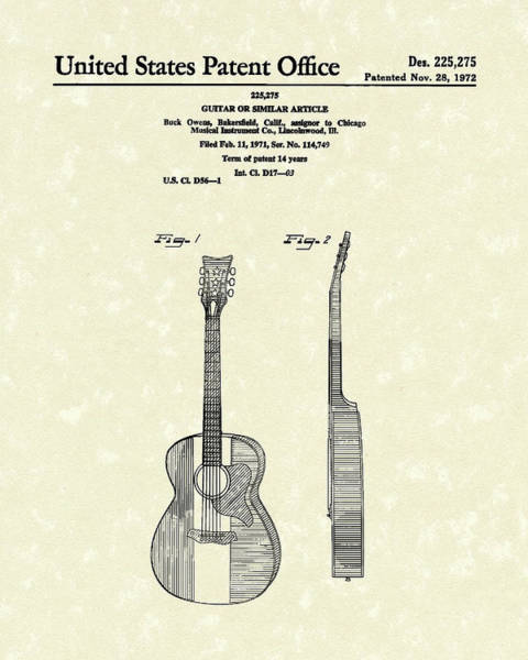 Drawing - Buck Owens Guitar 1972 Patent Art  by Prior Art Design
