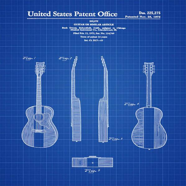 Buck Owens Guitar Patent 1972 Blue Print Art Print