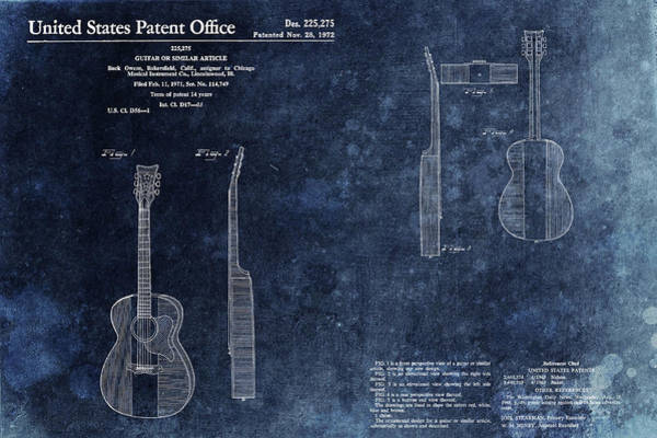 Mixed Media - Buck Owens Guitar Patentt by Dan Sproul