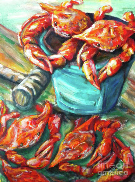 Wall Art - Painting - Bucket O Crabs by JoAnn Wheeler