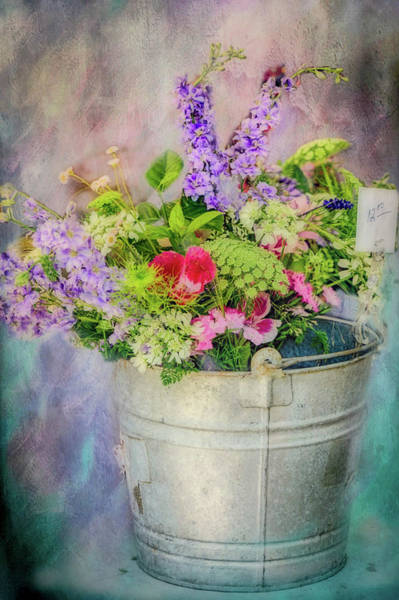 Wall Art - Painting - Bucket Of Flowers by Ches Black