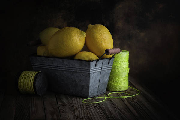 Citrus Fruit Photograph - Bucket Of Lemons by Tom Mc Nemar