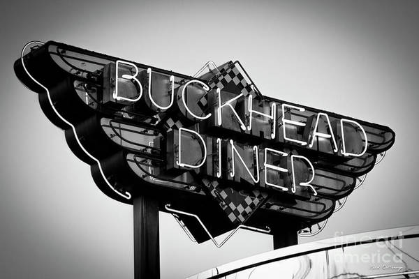 Photograph - Buckhead Diner Sign Bw Signage Art by Reid Callaway