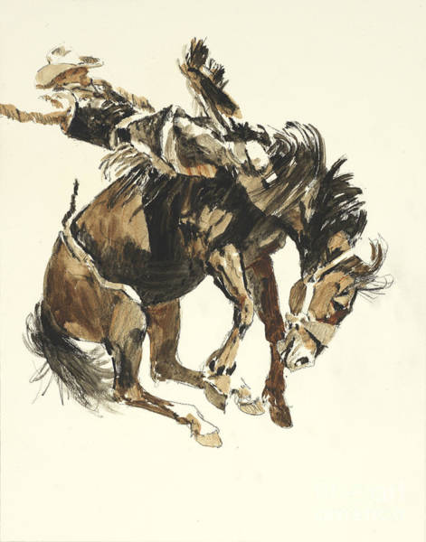 Wall Art - Painting - Bucking Horse Facing Right by Don Langeneckert
