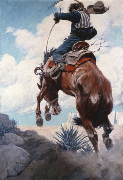 Wall Art - Painting - Bucking by Newell Convers Wyeth