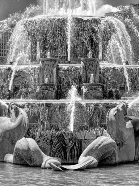 Photograph - Buckingham Fountain Closeup Black And White by Christopher Arndt