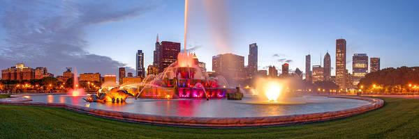 Photograph - Buckingham Fountain Panorama At Twilight - Grant Park Chicago Illinois by Silvio Ligutti
