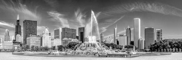 Photograph - Buckingham Fountain Skyline Panorama Black And White by Christopher Arndt