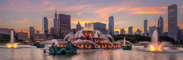 Photograph - Buckingham Fountain Sunset by David Hart