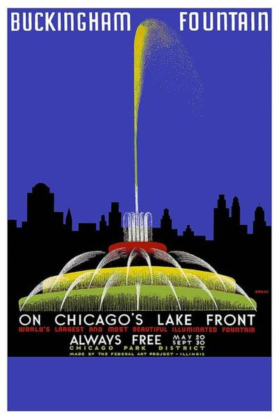 Kunst Wall Art - Painting - Buckingham Fountain Vintage Travel Poster by Studio Grafiikka