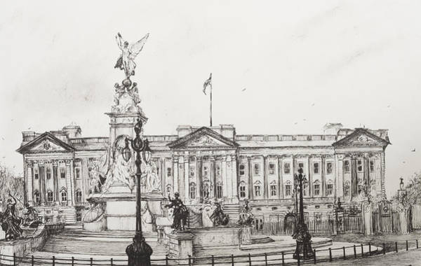 Etching Drawing - Buckingham Palace by Vincent Alexander Booth