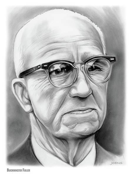 Theorist Wall Art - Drawing - Buckminster Fuller by Greg Joens