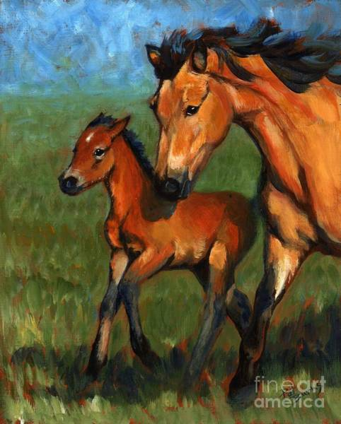 Livestock Wall Art - Painting - Buckskin And Baby by Pat Burns